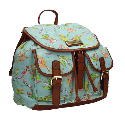 Anna Vintage Birds Canvas Backpack Turquoise