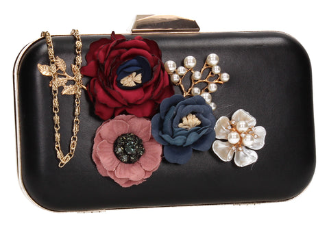 Eliza Floral Clutch Bag Black