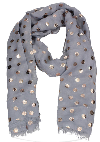 Four Leaf Clover Rose Gold Foil Print Scarf Grey