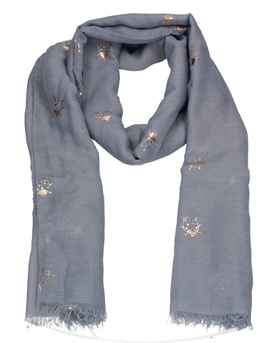 Ladybird Rose Gold Foil Animal Print Scarf Grey