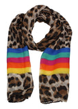 Leopard Print Striped Scarf Rainbow