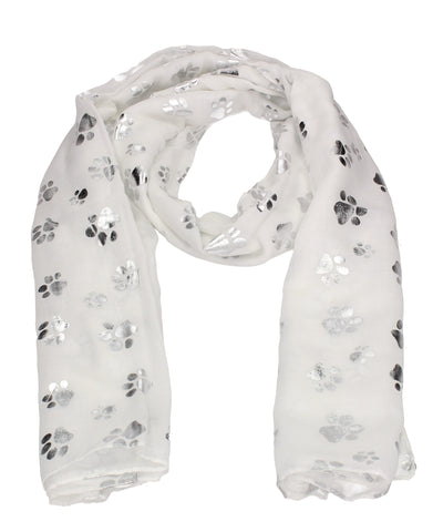 Holly Silver Foil Paw Print Puppy Dog Scarf White