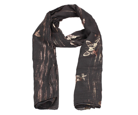 Sarah Butterfly Rose Gold Foil Scarf Grey