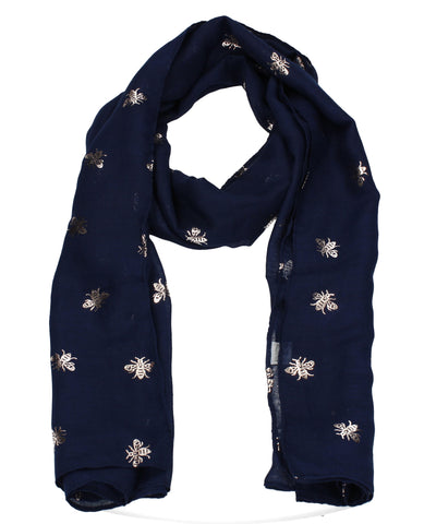Worker Bee Gold  Foil Animal Print Winter Scarf Navy Blue