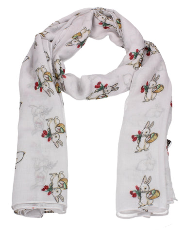 Ronnie Bunny Rabbit Print Winter Scarf White