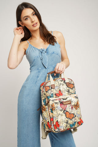 Atlantis Vintage Map & Butterfly Backpack Beige