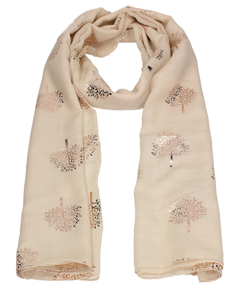 Swanky Swans Mulberry Rose Gold Tree Scarf Beige Beautiful school Summer Winter Scarf