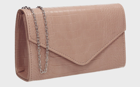 Emily Croc Effect Clutch Bag Beige
