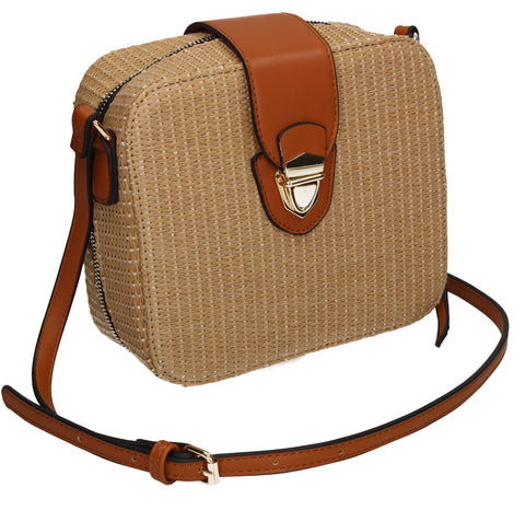 Bali Straw effect Crossbody Bag Beige
