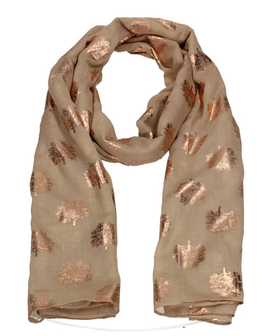 Oak Tree Print Rose Gold Foil Winter Scarf Beige