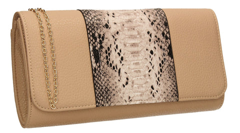 SWANKYSWANS Bella Snakeskin Clutch Bag Beige Cute Cheap Clutch Bag For Weddings School and Work