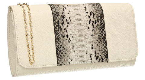 SWANKYSWANS Bella Snakeskin Clutch Bag White Cute Cheap Clutch Bag For Weddings School and Work