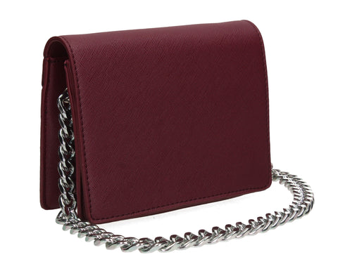 Thea Flapover Faux Leather Crossbody Mini Bag Berry Red