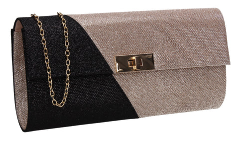 Marie Dual Colour Glitter Clutch Bag Black