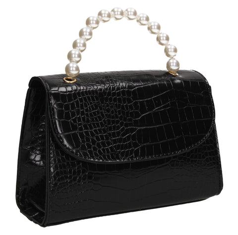 Jadyn Faux Leather Croc Effect Acrylic Handle Crossbody Black