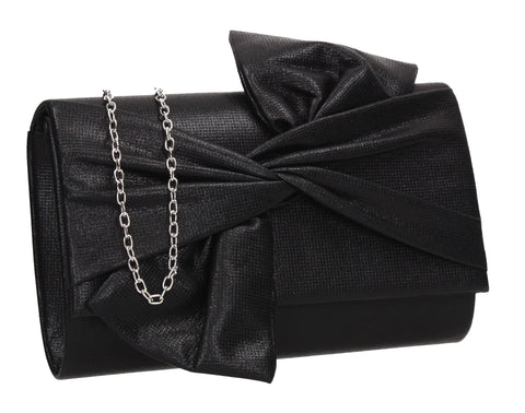 June Bow Style Clutch Bag Black