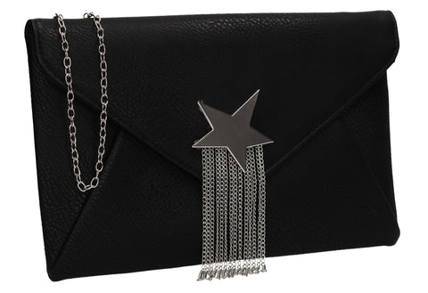 Cameron Shiny Star Motif Clutch Bag Black