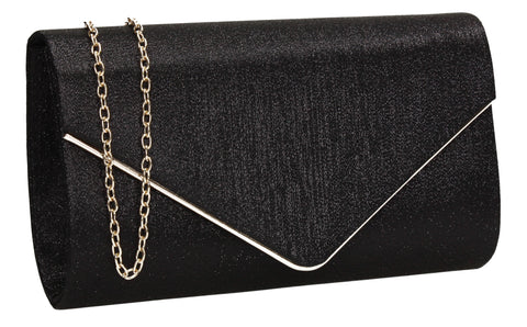 SWANKYSWANS Maya Clutch Bag Black Cute Cheap Clutch Bag For Weddings School and Work