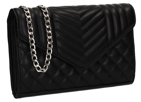 Miya V Stitched Party Evening Clutch Bag Black