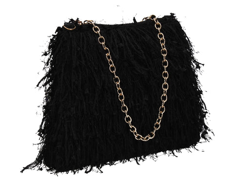 Alaina Thread Tassle Zip Clutch Bag Black