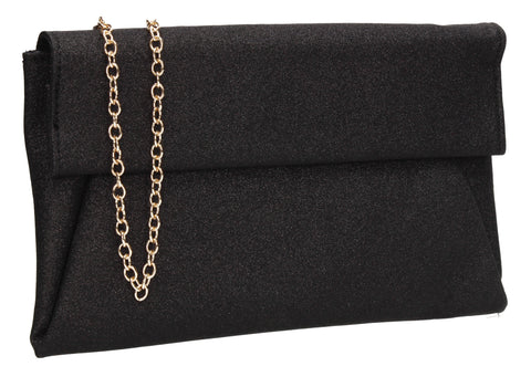 Ellie Smart Flapover Glitter Clutch Bag Black