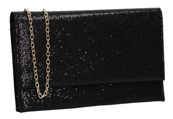SWANKYSWANS Ellis Sequin & Glitter Slim Clutch Bag Black