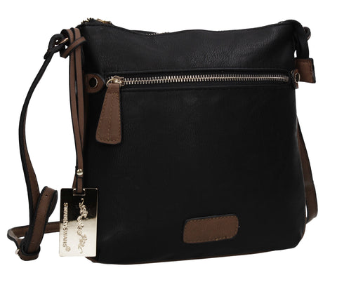 Olivia Faux Leather Crossbody Shoulder Bag Black