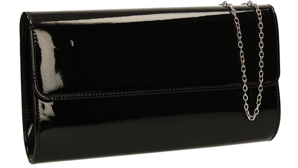 Cara Metallic Clutch Bag Black