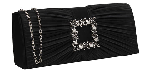 Chloe Satin Clutch Bag Black