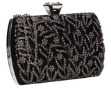 Claire Floral Diamante Detail Box Shape Clutch Bag Black