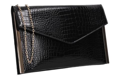 Bella Croc Effect Slim Clutch Bag Black