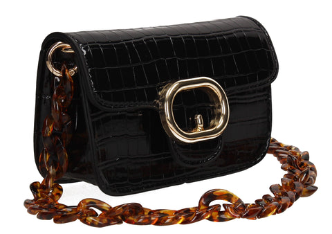 Robyn Croc Effect Crossbody Clutch Bag Black