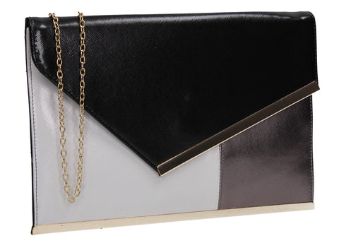 SWANKYSWANS Kai Dual Colour Envelope Clutch Bag Black