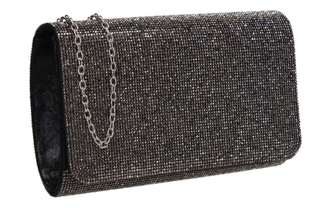 Hallie Diamante Clutch Bag Black