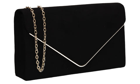 Poppy Faux Suede Envelope Clutch Bag Black