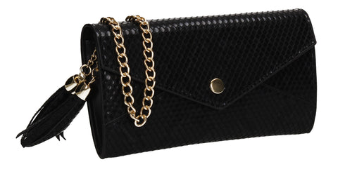 Tony Faux Leather Crossbody Clutch Bag Black