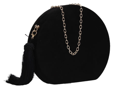 Celia Circular Faux Suede Style Clutch Bag Black