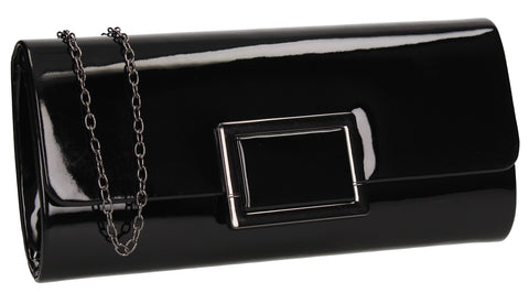 Katelyn Flapover Patent Clutch Bag Black