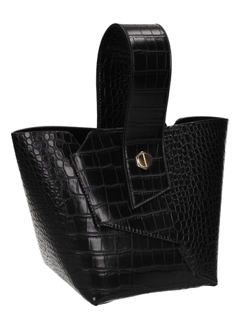Jen Faux Leather Croc Bucket Structure Bag Black