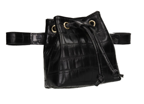 Ciara Faux Leather Croc Belt Bag Black