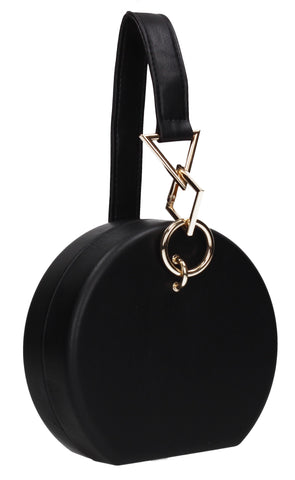 Rayne Circular Style Faux Leather Clutch Bag Black