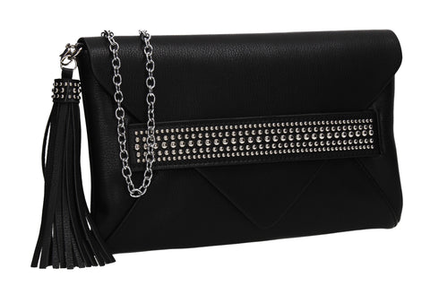 SWANKYSWANS Blair Tassle & Diamante Clutch Bag Black