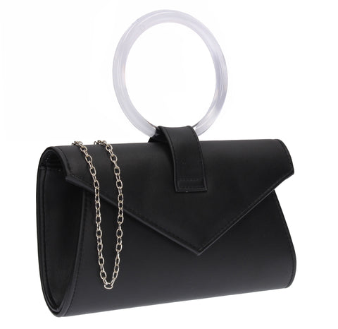Gabriela Faux Leather Ring Handle Envelope Clutch Bag Black
