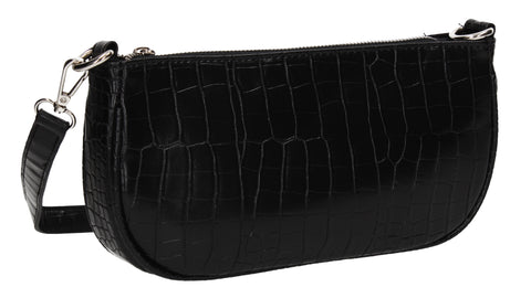 Ivana Faux Leather Croc Effect Shoulder Crossbody Bag Black