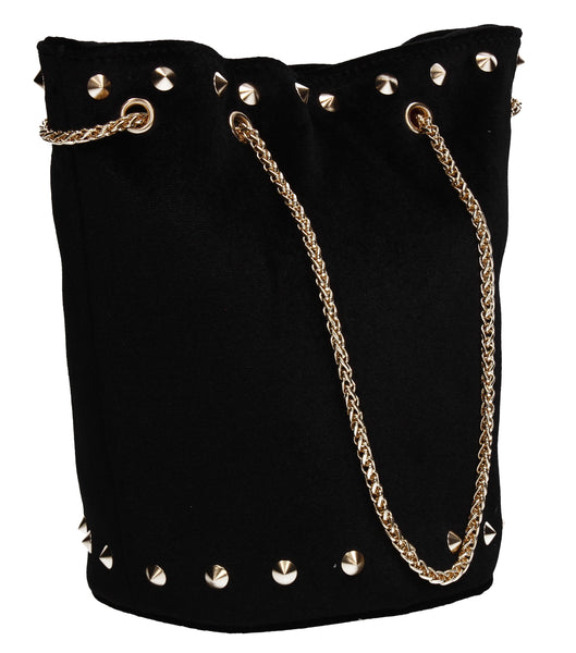 Clare Stud Velvet Bucket Tote Bag Black