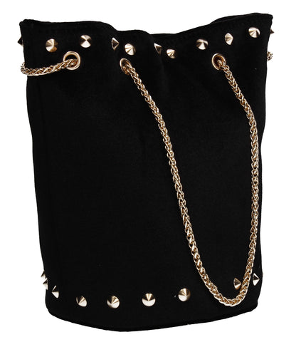 Clare Studded Plain Velvet Shoulder Bag Black