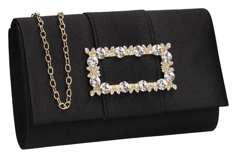 Kenzie Flapover Faux Gem Satin Clutch Bag Black