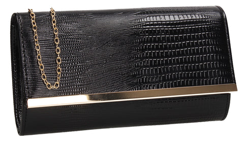 Ronai Flapover Faux Leather Clutch Bag Black