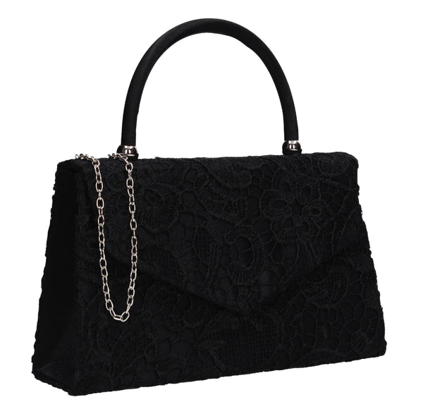 Kendall Lace Clutch Bag Black