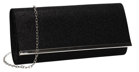 Lucey Flapover Glitter Clutch Bag Black
